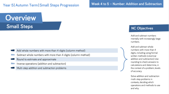 Small Steps - Addition and Subtraction