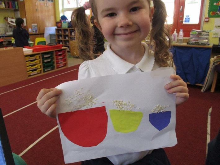 Cutting skills making bowls of porridge.