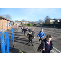 10 laps of the playground is a mile!