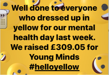 Each year we celebrate mental health day and raise money for YoungMinds.