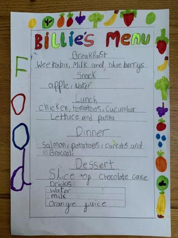 Billie has created a healthy eating menu!