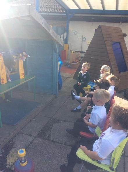 Performing a puppet show