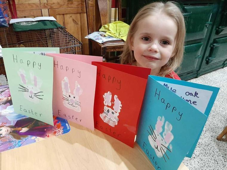 MM (Ocelot) with her beautiful Easter cards