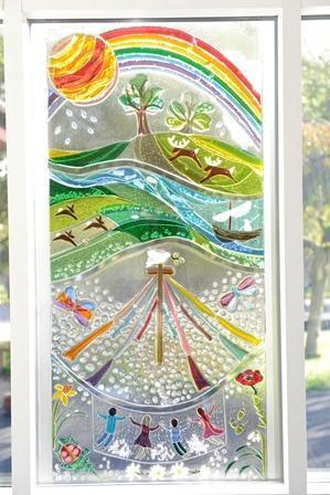 Fused glass window designed by the children