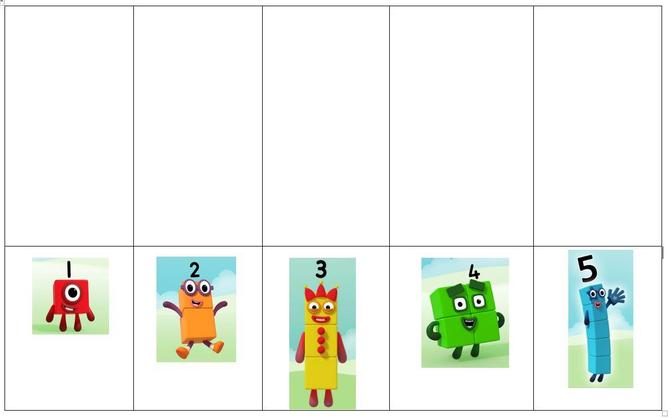 Try counting objects to match each Numberblock. Find objects or use mark making skills