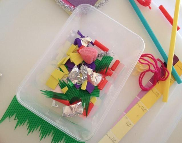 Cut a selection of textures and materials to make a collage box