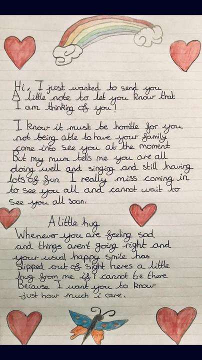 A letter to a carers patients.