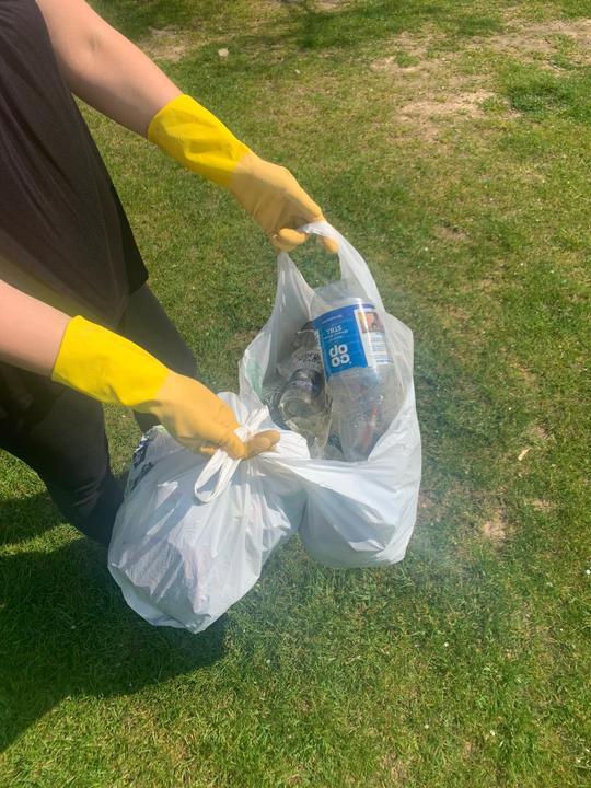 Rubbish collecting at Sports and Social.