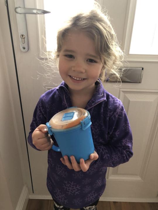 Homemade soup to make her feel better.