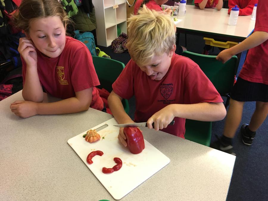cut up a huge red pepper,...