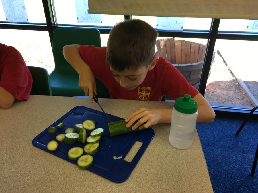 We sliced a cucumber,...