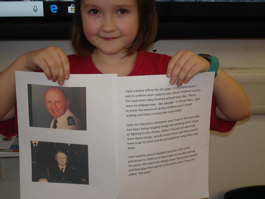 Eve spoke about her Grandads job.