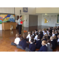 KS2 assembly learning about brass instruments