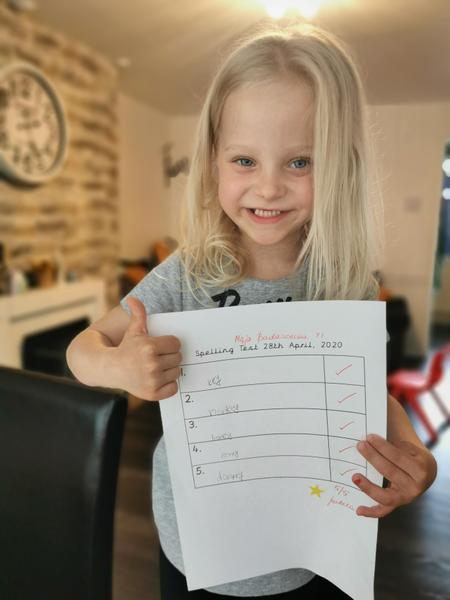 Maja did some amazing spelling work today.