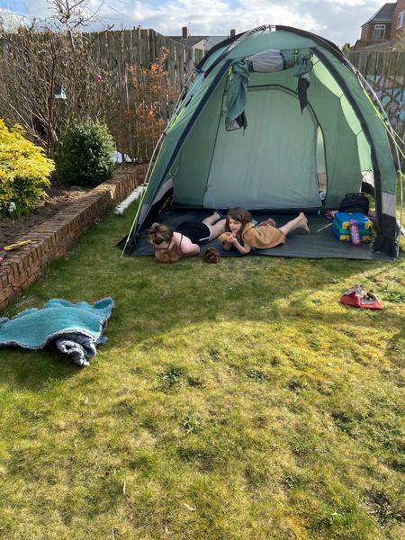 camping in her garden...