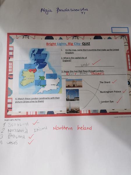 Maja enjoyed doing her knowledge organiser quiz...