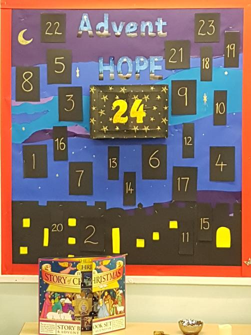 Our giant Advent Calendar made by Y5/6.