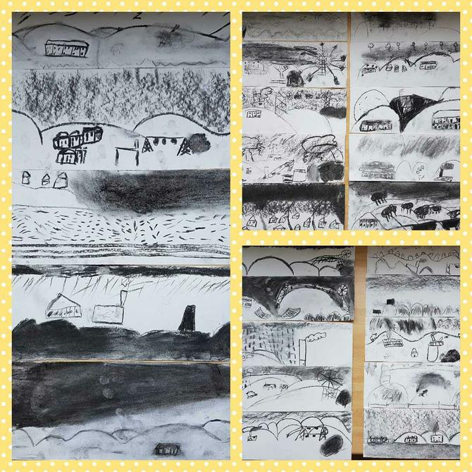 Charcoal sketches by Class 3 linked to English.