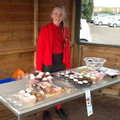 Selling cakes for St Joseph's Penny