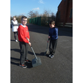 Ronan and Sam from Y6 helping out.