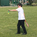 Jacob and Aidan play Badminton.