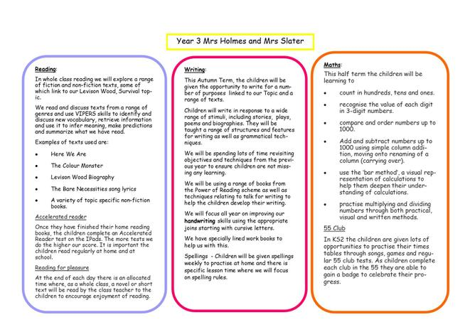 Reading, Writing and Maths Overview