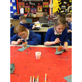 We enjoyed making Greek Pots from clay!