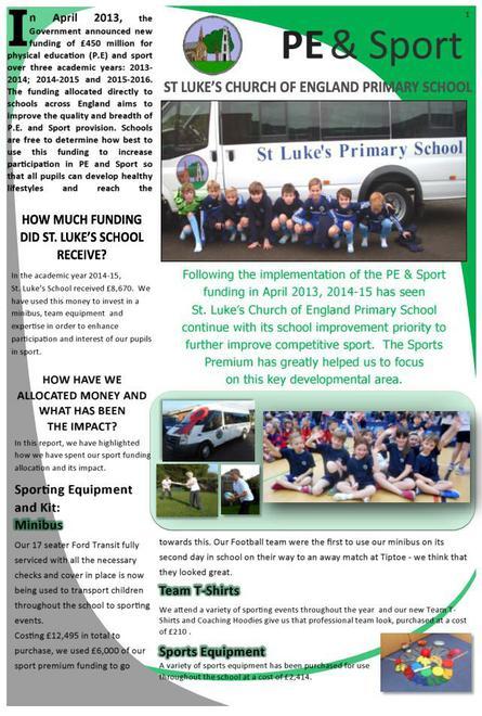 Sports Premium Report March 2015