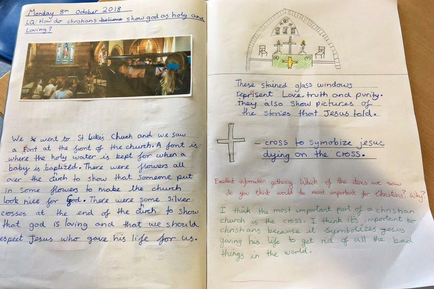 Y5 writing about their visit to St Luke's Church