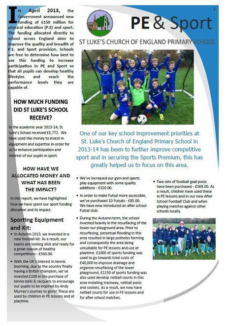 Sports Premium Report February 2014
