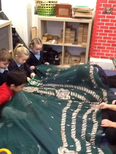 We looked carefully at the beautiful embroidery