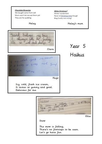 Year 5 wrote Haikus as part of our poetry module. Here are some of the best ones!