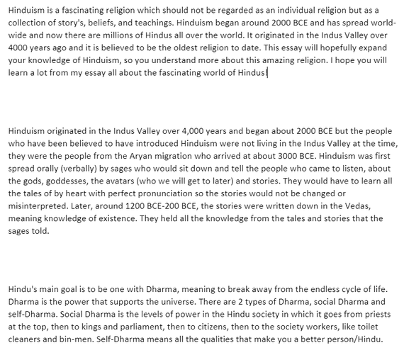 Bethany's Hinduism Essay