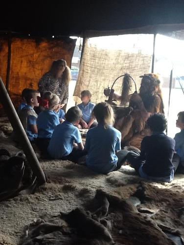 Stone Age crafts being demonstarted