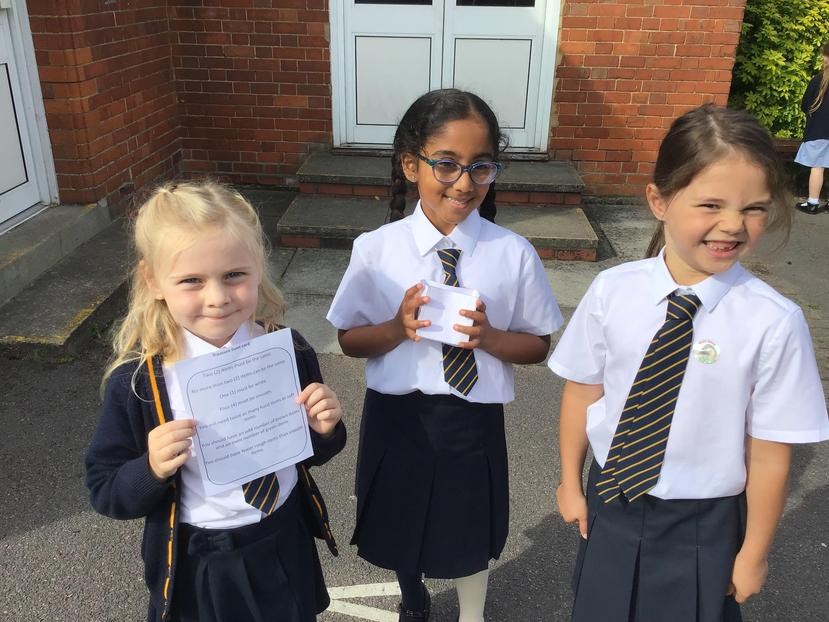 Then we used the clues which used maths language to find our treasure