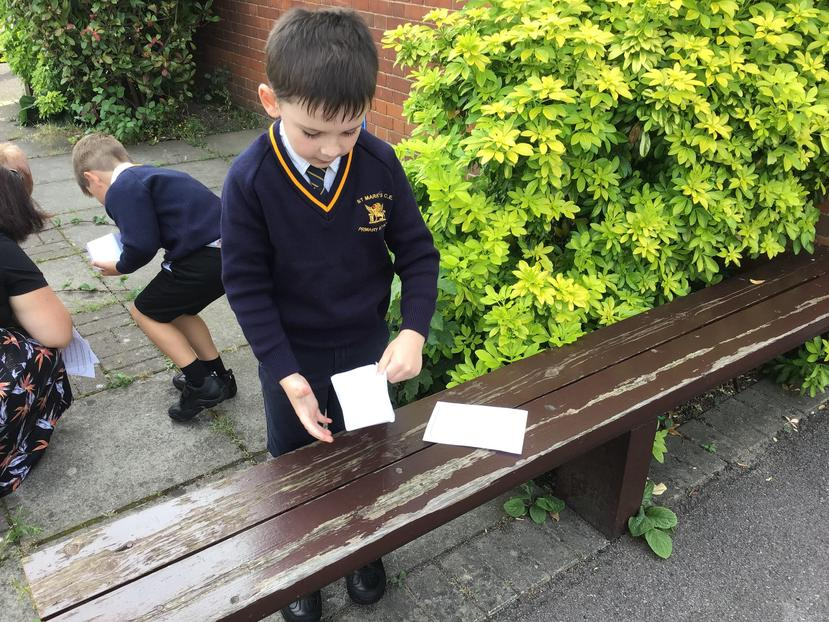 First we made boxes to carry our treasure in