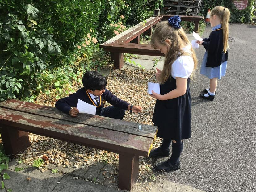 We worked in pairs to find our treasure