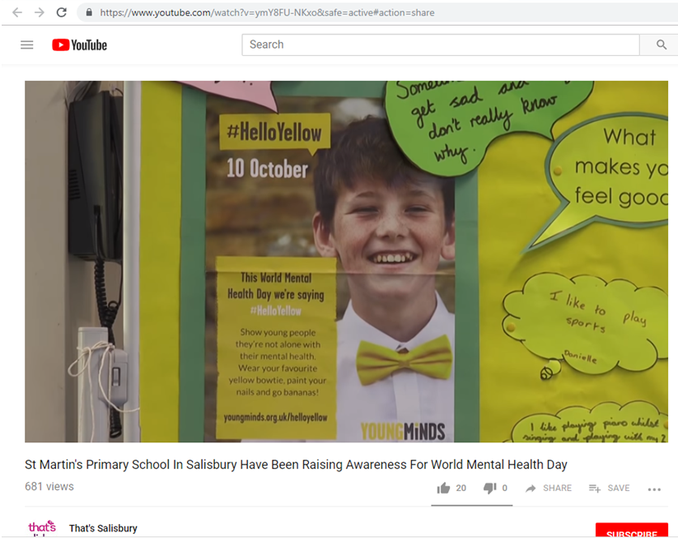 If you would like to see the video by That's TV Salisbury for our #HelloYellow activities. Please visit YouTube and search for 'St. Martin's Mental Health'.