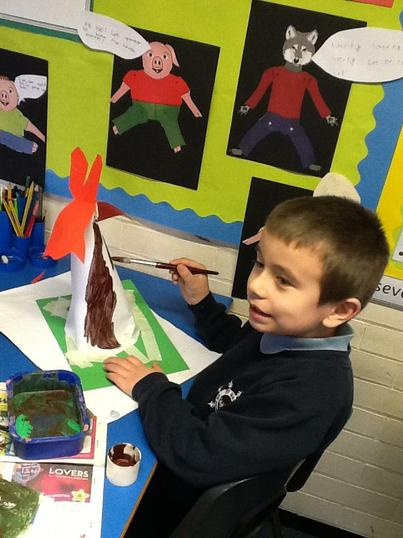 Jack created his own volcano out of paper.