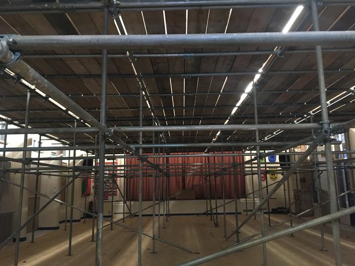 Scaffolding inside the main hall 1.10.18