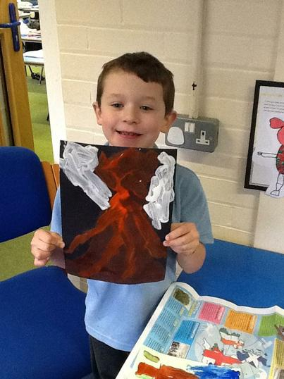 Joseph painted his own picture of a volcano.
