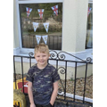Jenson with his VE Day bunting