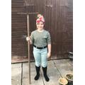 Violet dressed as a Land Girl