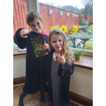 Y2 and sister dressed up as Harry Potter