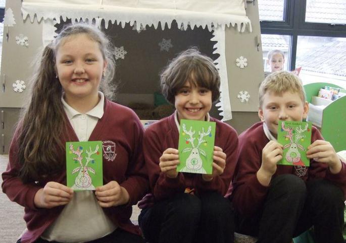 Mia Rhiannon and Morgan Y4 and Y5 Reindeer Cards