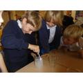 Creating a crystal.