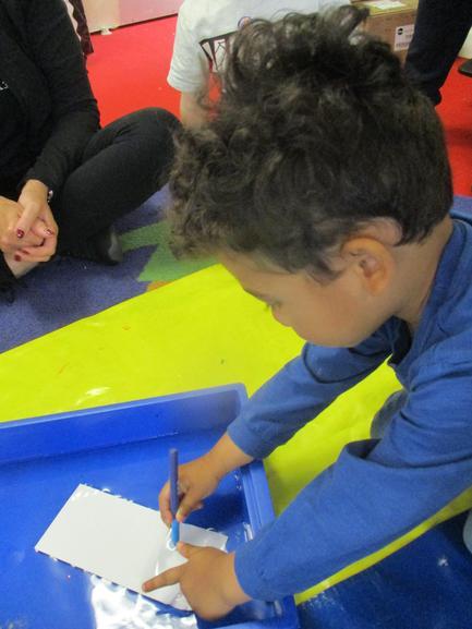 Nahum chose paper and a felt pen