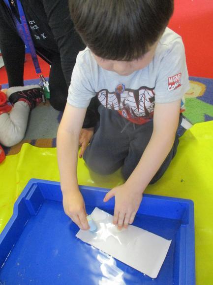 Freddie chose chalk and paper