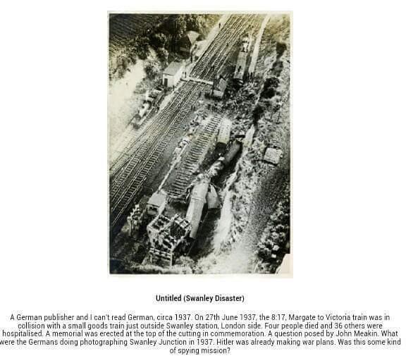 Aerial view of train crash 1937