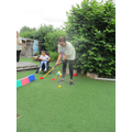 Mrs Shelton showed us how to play golf